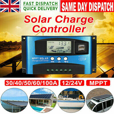 UK❤MPPT 100A 12/24V Dual USB Solar Panel Battery Regulator Charge Controller NEW • 15.16£