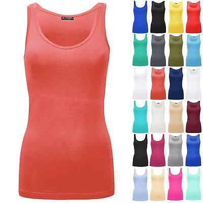 Ladies Sleeveless Vest Womens Cotton Stretchy Plain T-Shirt Cami Casual Tank Top • 2.99£