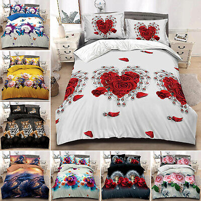 4 Pcs Complete Bedding Set 3D Duvet Cover Single Double King Size Quilt Cover • 25.99£