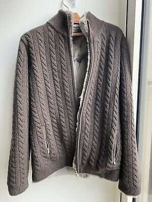 Fur Lined Cable Cashmere Cardigan N.Peal - SIZE L • 725£