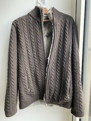 £650 • Buy N.Peal Mens Fur Lined Cable Cashmere Cardigan - SIZE L
