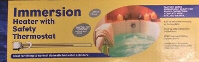 Robimatic Immersion Heater With Safety Thermostat 11  280mm Incolloy Hard Soft • 12£