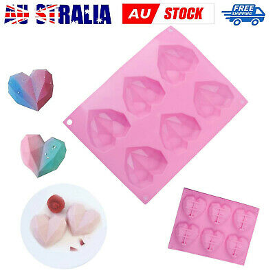 AU7.99 • Buy Heart Shape Candy Cake Chocolate Mould 3D Fondant Mold Silicone Sugar Craft DIY