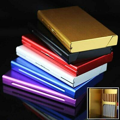 For 20 Cigarettes Aluminum Cigarette Case Tobacco Holder Pocket Box Container • 4.39£