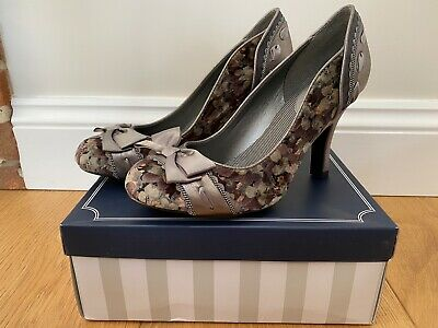 Ruby Shoo AMY PEWTER 7 Heels Shoes Silver Grey Floral • 19.99£