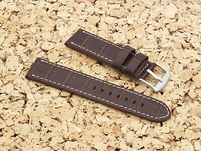 Genuine Leather Alligator Grain Watch Strap 22mm Brown By Geckota • 7.99£