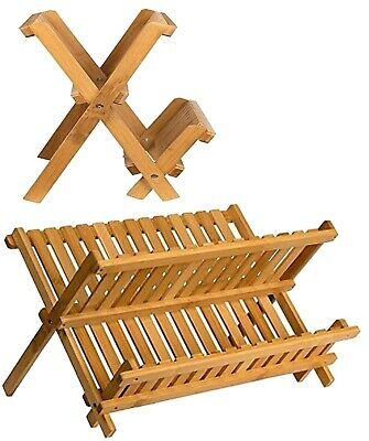 £16.99 • Buy Foldable Wooden Dish Drainer Kitchen Dryer Sink Hold Plate Bowl Cup Cutlery Rack
