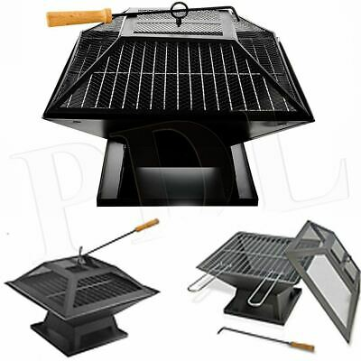 Square Fire Pit BBQ Grill Heater Outdoor Garden Firepit Brazier Patio Outside • 49.95£
