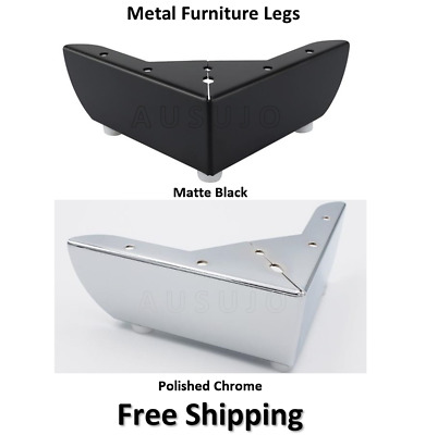 AU40 • Buy 4 X Furniture Legs Feet Black Chrome Metal Cabinet Couch Sofa Lounge Replacement