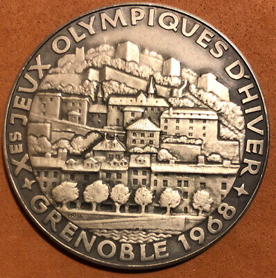 £57.91 • Buy 1968 OLYMPIC GAMES SILVER COLLECTIBLE MEDAL 40 Mm  GRENOBLE~FRANCE