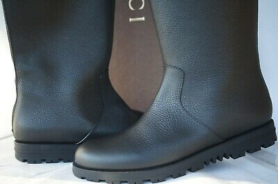 New Gucci Women's Boots Knee High Rain Size 40 Black Leather  • 358.43£