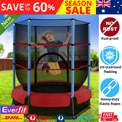 AU110.31 • Buy Everfit Childrens 4.5FT Round MINI Trampoline Kids Safety Net Bouncing Fitness