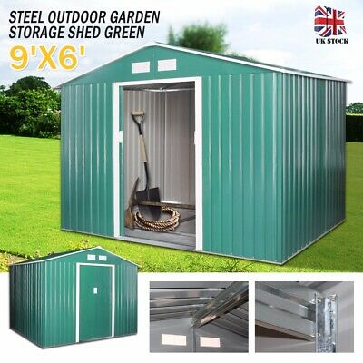 9X6 Large Garden Storage Shed Metal Apex Roof With Free Foundation Outdoor Green • 99.99£