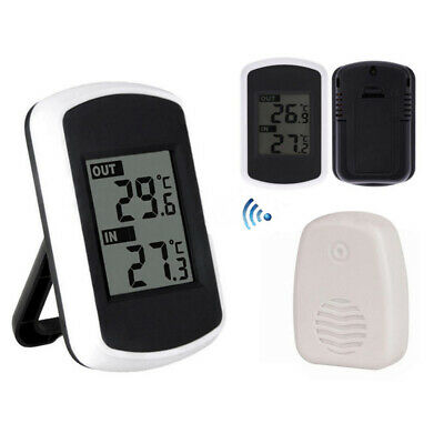 Indoor Outdoor Digital LCD Wireless Thermometer Weather Station Measurer Sensors • 12.50£