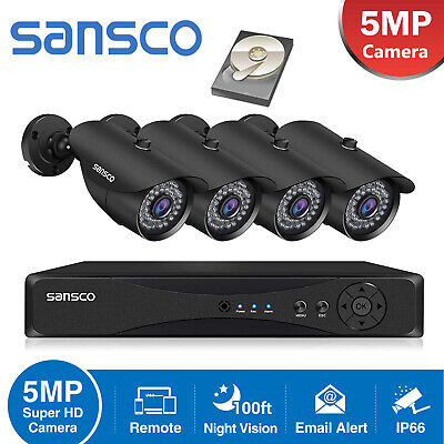 £179.99 • Buy 5MP Smart CCTV Security Camera System Home Outdoor HD 4CH DVR IR With Hard Drive
