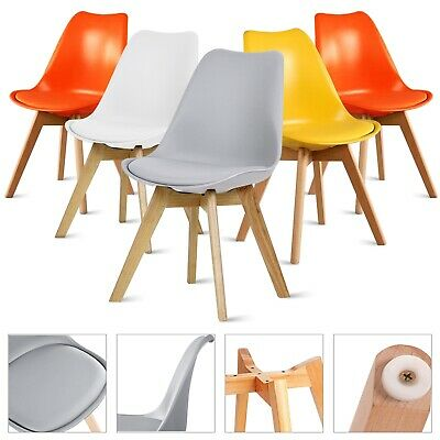 £9.99 • Buy Retro Dining Chairs Wooden Legs Kitchen Room Tulip Chair Lounge Study Desk Chair