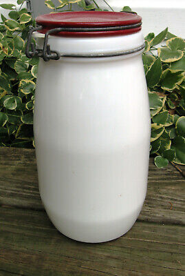 $23.20 • Buy Vtg White Milk Glass Canister Jar With Rubber Gasket Seal Metal Locking Clamp