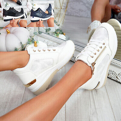 $ CDN29.79 • Buy Womens Ladies Wedge Chunky Sneakers Snake Skin Trainers Sporty Women Shoes Size