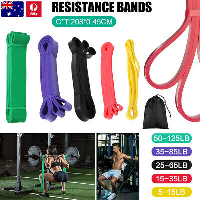 AU13.59 • Buy SET Of 5 Heavy Duty Resistance Yoga Bands Loop Exercise Fitness Workout Band Gym