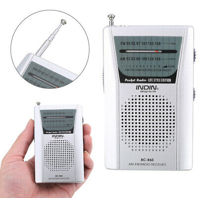 Portable Mini FM AM Radio Receiver Speaker Telescopic Antenna 3.5mm Jack Gift • 8.25£