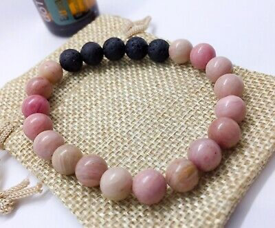 AU10 • Buy Essential Oil Diffuser Bracelet Featuring Lava Rock And Rhodonite