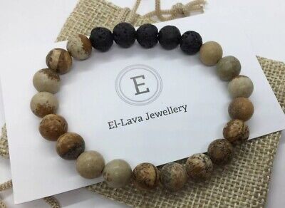 AU10 • Buy Essential Oil Diffuser Bracelet Featuring Lava Rock & Picture Jasper