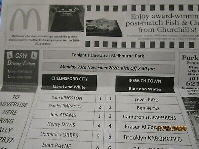 £8.99 • Buy Chelmsford City Ipswich Town Official November 2020 Youth Cup Rare Teamsheet