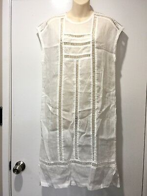 AU39 • Buy New With Tags $389 LEE MATHEWS White Linen Ladder Dress Size 0 (6) #13358