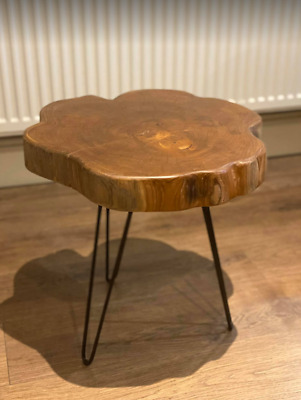 Industrial Side Table Solid Teak Furniture Rustic Metal Legs Vintage Coffee End • 95.95£