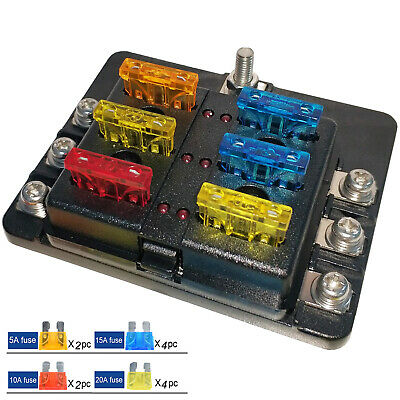 AU13.99 • Buy 6 Way Blade Fuse Block Box Holder LED Light 12V 32V Circuit Caravan Marine Car