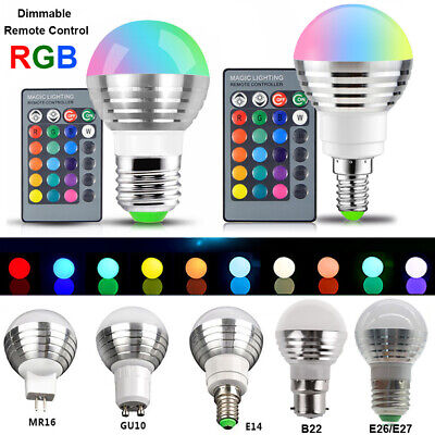 £6.35 • Buy RGB LED Light Bulb 16 Colour Changing Remote Controlled Bayonet Screw Lamp UK
