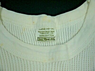 $ CDN36.05 • Buy Vintage 60s 70s Sears Thermal Top T Shirt White Thrashed Distressed Men L USA