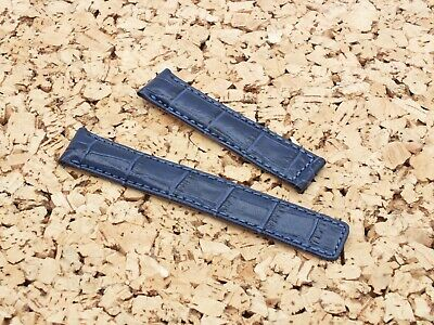 Genuine Leather Alligator Grain Deployment Watch Strap 19-18mm Ink Blue • 4.50£