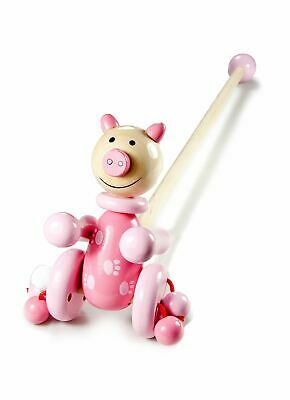 Mousehouse Baby Pre School Traditional Wooden Push Along Toy Pink Pig Girls • 12.99£