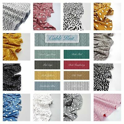 £7.50 • Buy Printed JERSEY & CABLE KNIT Soft Cotton Stretch Knit Dressmaking Fabric OEKO-TEX