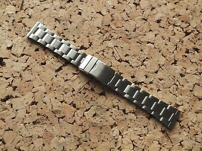 Brushed Stainless Steel Folded Link Watch Strap 20mm Straight Ends • 5.99£