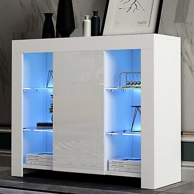 £0.99 • Buy TV Unit Gloss White LED Sideboard Cupboard Display Cabinet TV Stand Living Room