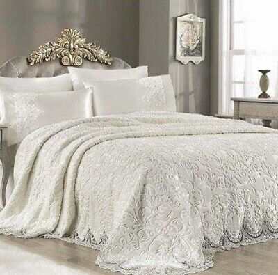 Luxury 6pcs Wedding Bedspread Blanket Throw Set With France Lace. Double&king • 135£