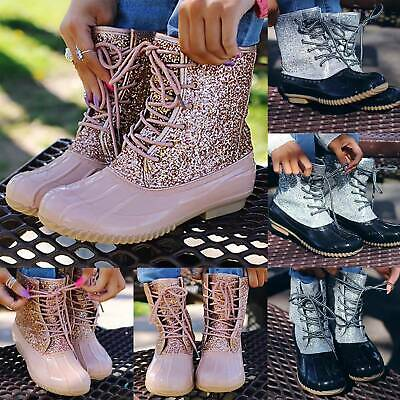 Women Lace Up Leather Glitter Rainboots Ladies Mid Calf Flats Booties Shoes Size • 24.99£