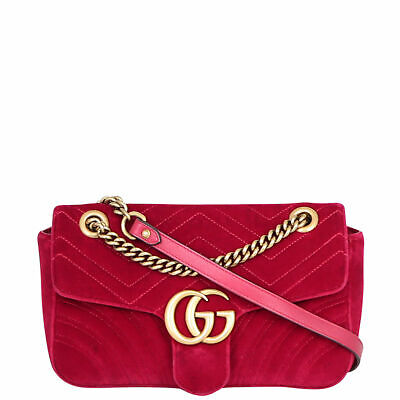 AU2090 • Buy Authentic Gucci GG Marmont Velvet Small Shoulder Bag