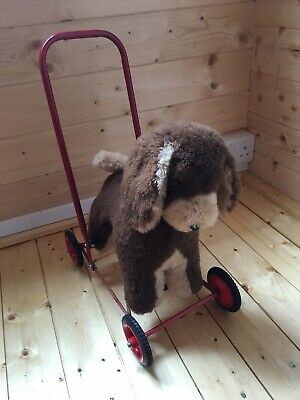 Vintage Push Along Dog On Wheels Walker Ride Along Soft Toy Small 1950s H48cm • 60£