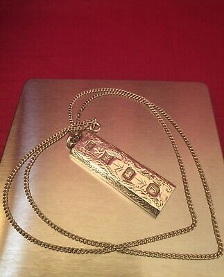 """Vintage 1980's Solid Sterling Silver Ingot Pendant W/ 22"""" Sterling Silver Chain. • 59.95£"""