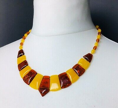 Vintage Amber Necklace Cleopatra Baltic Polished Butterscotch Transparent 21g • 108£