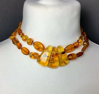 Vintage Amber Necklace Choker Baltic Natural  Polished Semi Transparent 44g • 120.96£