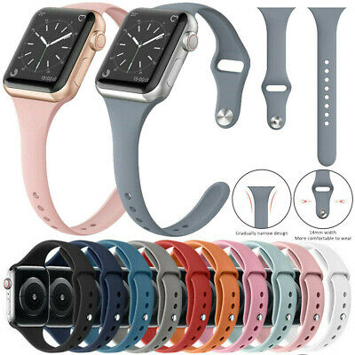 $ CDN6.10 • Buy Silicone Sports Slim Soft IWatch Band For Apple Watch Series 6 5 4 3 2 38mm-44mm