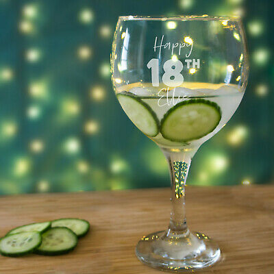 18th Birthday Gin Glass For Her. Birthday Gifts For Girl Personalised With Name. • 17.99£