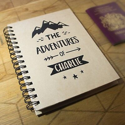£14.99 • Buy Personalised Travel Journal Planner - The Adventures Of Notebook, Lined Spiral