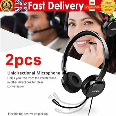 2pack Mpow 071 USB Headset 3.5mm Jack Computer Wired Headphones Mic For PC Skype • 46.89£