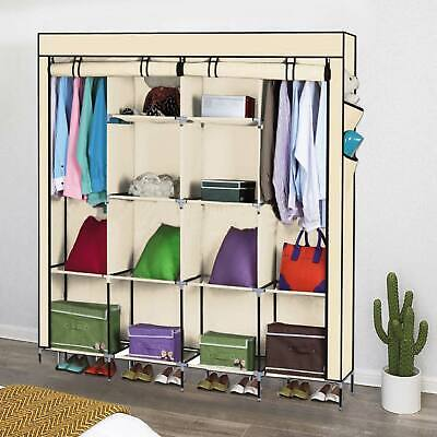 £15.99 • Buy Large Fabric Canvas Wardrobe With Hanging Shelving Clothes Storage Cupboard New
