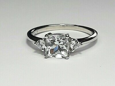 Natural Princess Cut White Topaz Womens Ring Set On 925 Sterling Silver Size L • 25£